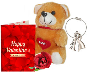 Sky Trends Valentine Gift For Husband Greeting Card Metal Keychain Soft Teddy  Artificial Rose Best Gift For Hubby
