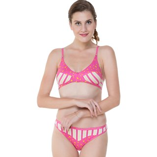 Glus (104) Summer Star Everyday Bra  Bikini Panty Set , Color - Magenta, Size-36