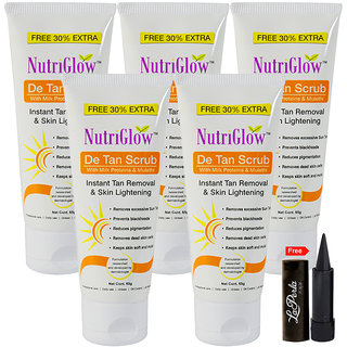 Nutriglow De Tan Scrub with Milk Proteins (Pack Of 5)
