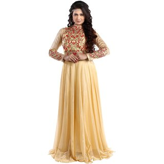 Chhabra 555 Golden Net Embroidery Gown