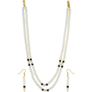 VISHAKA PEARLS  JEWELLERS Black and White Double Line Pearl Set