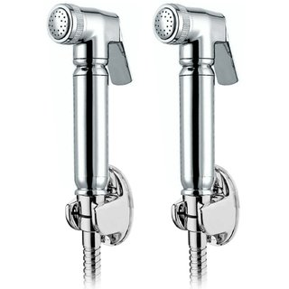 Snowbell Victoria Health Faucet With 1 Meter Flexible Tube And Wall Hook - Set Of 2