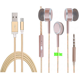 DKM Inc High Grade Golden Micro USB V8 Cable and Scented Rose Gold Earphones with Mic for Micromax Canvas Spark 3 Q385