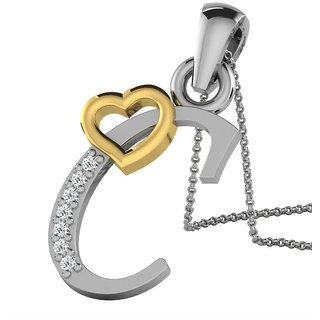 Kataria Jewellers Letter C with Valentine Heart 92.5 BIS Hallmarked Silver and American Diamond Alphabet Initial Pendant