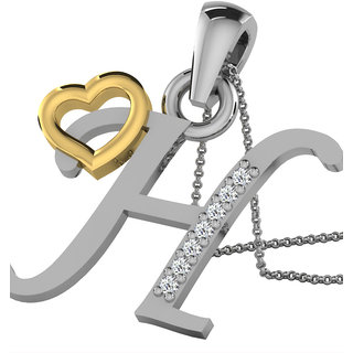 Kataria Jewellers Letter H with Valentine Heart 92.5 BIS Hallmarked Silver and American Diamond Alphabet Initial Pendant