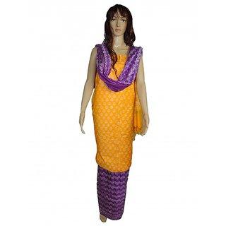 Bhagalpuri Dupion Silk Block Print Unstiched Suit Set (Unstitched)