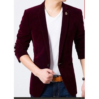Men Velvet Blazer Coat Men Slim Fit Party Wear