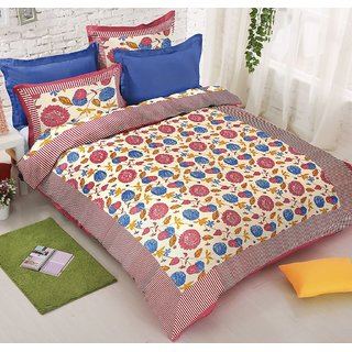 Cotton printed botanical Jaipuri double bed sheet with two pillow covers