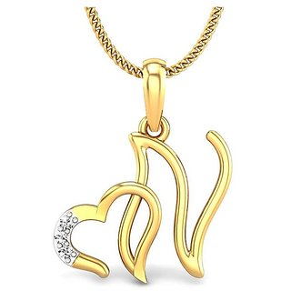 Kataria Jewellers Letter N with Valentine Heart 92.5 BIS Hallmarked Silver and American Diamond Alphabet Initial Pendant