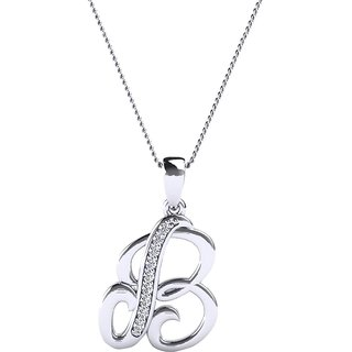 Kataria Jewellers Letter B 92.5 BIS Hallmarked Silver and American Diamond Alphabet Initial Pendant