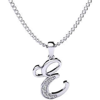 Kataria Jewellers Letter E 92.5 BIS Hallmarked Silver and American Diamond Alphabet Initial Pendant