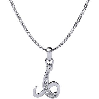Kataria Jewellers Letter L 92.5 BIS Hallmarked Silver and American Diamond Alphabet Initial Pendant