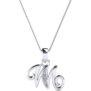 Kataria Jewellers Letter W 92.5 BIS Hallmarked Silver and American Diamond Alphabet Initial Pendant