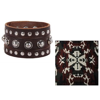 Sushito Brown Cool Wrist Band Combo Headwrap JSMFHWB0415N