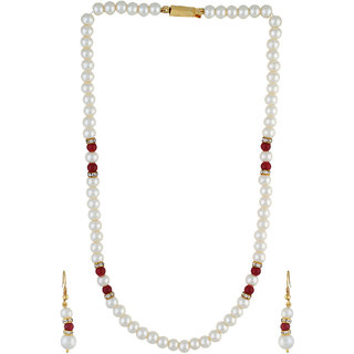 VISHAKA PEARLS  JEWELLERS Red and White Pearl Set