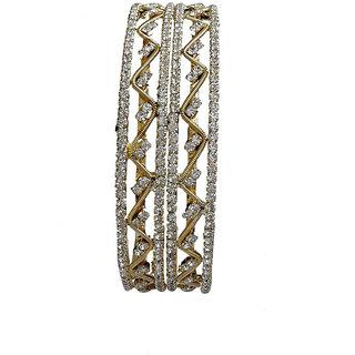 Gold Finish Cubic Zircona CZ Bracelet Kade Size 2.10