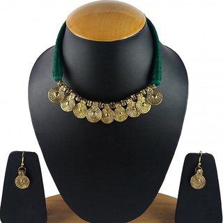 Aradhya Antique Green Designer Tribal Style Necklace for Women and Girls