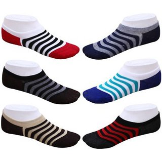 Aanand Casual Cotton Ankle Socks ( Multicolor ) Pair - 3