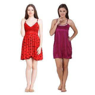 Keoti Multi color satin babydoll dresses without panty - Pack of 2 - (DN-BDDO-20BDNL-22)