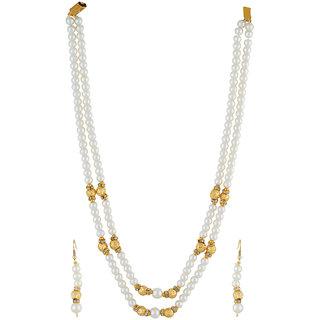 VISHAKA PEARLS  JEWELLERS Golden and White Double Line Pearl Set