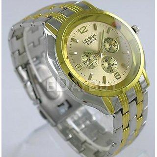 Rosra Mens Formal Analog Watch-Golden