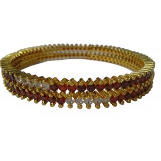 White and Pink Stone Gold Finish Bracelet Kade Size 2.4