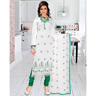 Ada Collection White Embroidered Cotton Dress Material