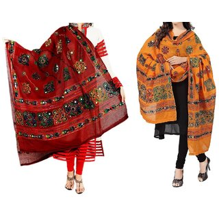 Women'S Cotton Embroidery  Mirror Work Dupatta Multi Color Stoles  Dupattas pack of 2