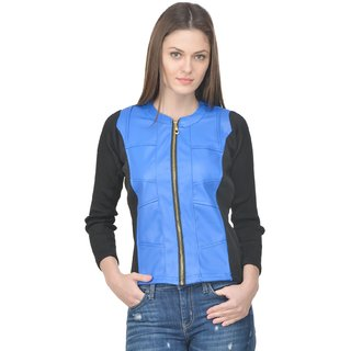 Raabta Royal Blue Faux Leather Jacket with rib
