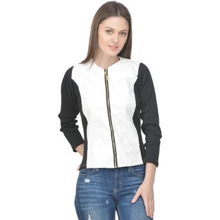 Raabta Fashion White Leather Biker Jacket For Women