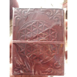 leather journal with recycled handmade paper with flower of life