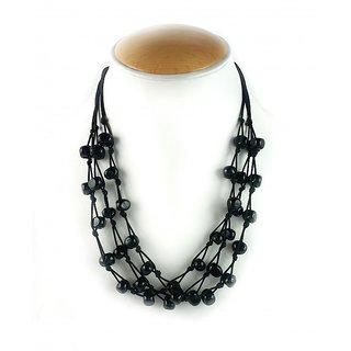 Aradhya Designer Black Beads Multi Strand necklace for Women and Girls