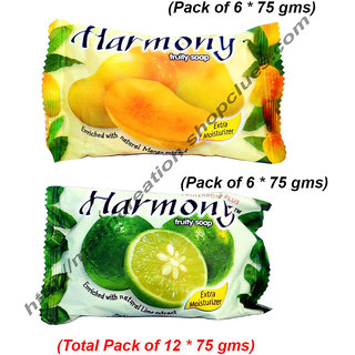 Harmony Combo Mango(6) + Lime(6)  Fruit Soaps Pack of 12 (75 gms Each)