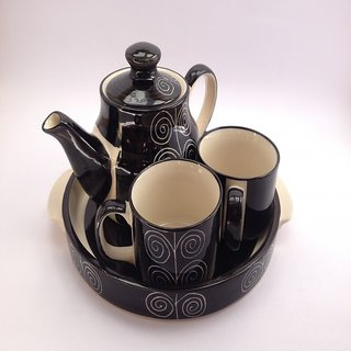 MAPA Ceramic Black Handcrafted Cups  Kettle Tea Set (2 Cups 1 Kettle and 1 Tray)