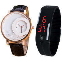 Combo Of Black Moving Beads Watch And Black Led Watch