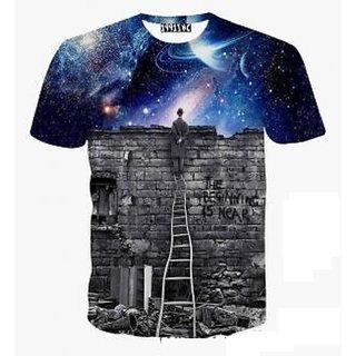 Men's Black Cotton Printed T-Shirt