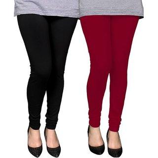 Trendmakerz Women's Black, Maroon Leggings (Pack of 2)