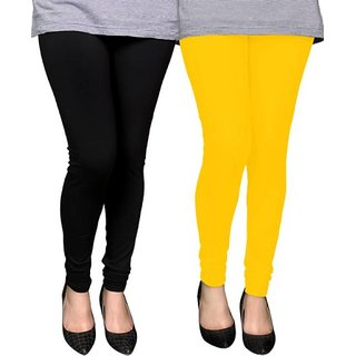 Trendmakerz Women's Black, Yellow Leggings (Pack of 2)