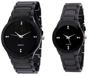 Iik Black Quartz Couple Watch