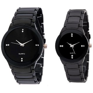 Iik Black Quartz Couple Watch