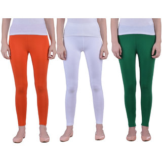 Dollar Missy pack of 3 Mango, White and Green Tricolor Combo Ankle Length