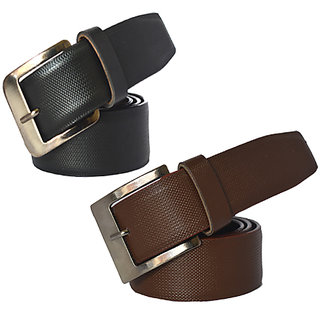 Sunshopping Black & Brown & Multicolor PU Belt For Mens (Synthetic leather/Rexine)