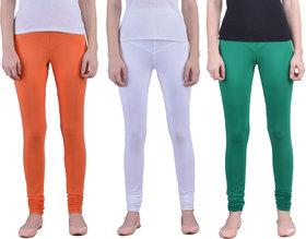 Dollar Missy pack of 3 Orange, White and Green Tricolor Combo Churidar Leggings