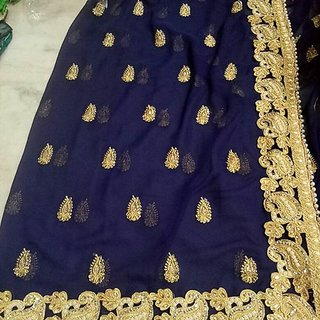 Self Design saree blue