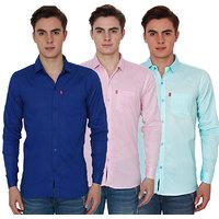 New Democratic Men's Multi Color Slim Fit Casual Shirt Pack of 3