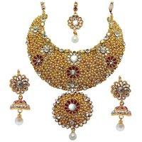 Mithya by JewelMaze Maroon Austrian Stone And Kundan Gold Plated Zinc Alloy Necklace Set With Maang Tikka-DAA0047