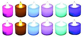 Atorakushon 12 LED Flameless Candle Coloring Tealight t.lite candle diwali decoration party