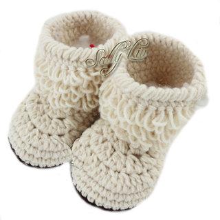Baby Booties Handmade Crochet Baby Shoes  cream
