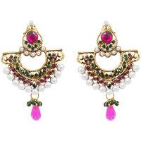 Kriaa by JewelMaze Pink And Green Austrian Stone Pearl Gold Plated Chandbali Earrings-AAA0059