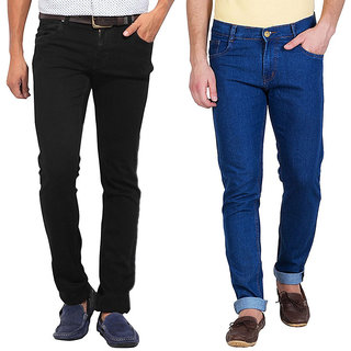 Stylox Men's Blue  Black Slim Fit Jeans (Set of 2)